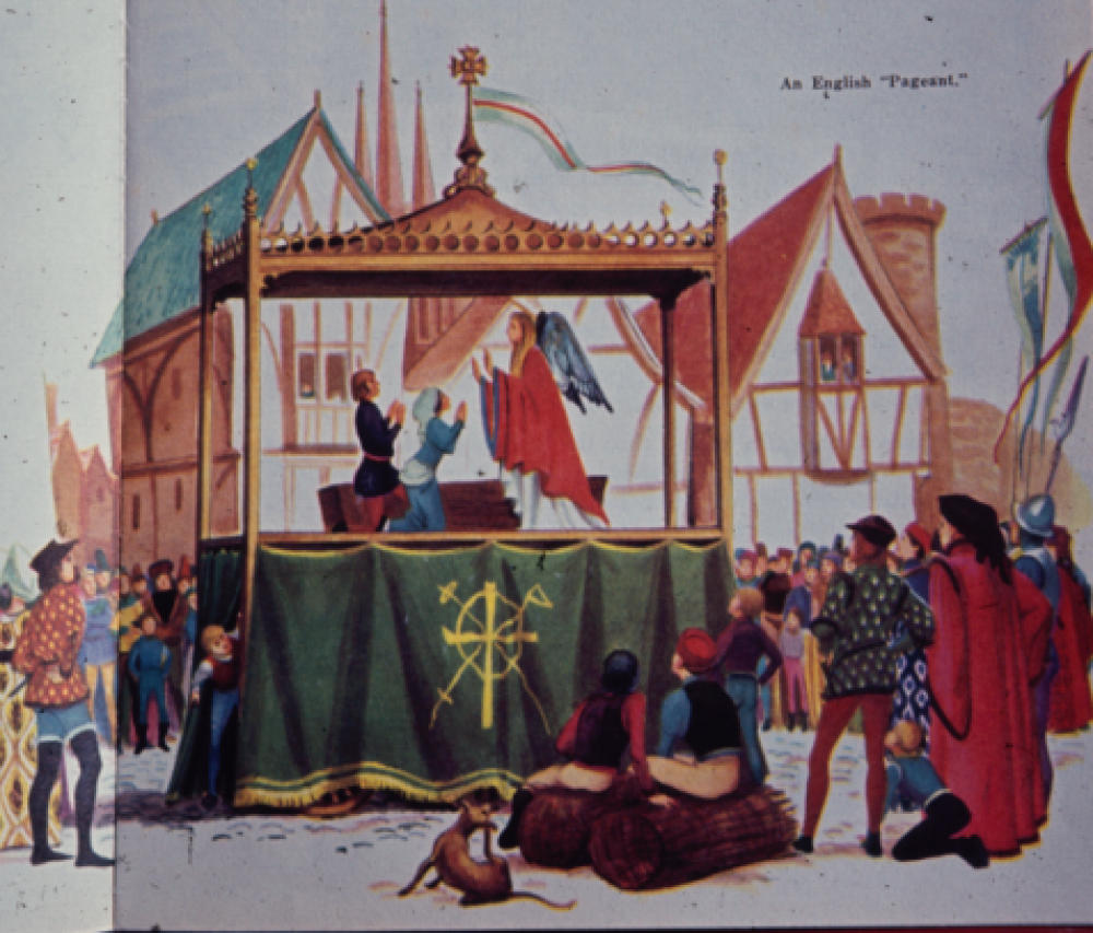 A medieval pageant wagon, depicting a performance of The Annunciation.
